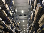 Refrigeration unit on high ceiling of warehouse