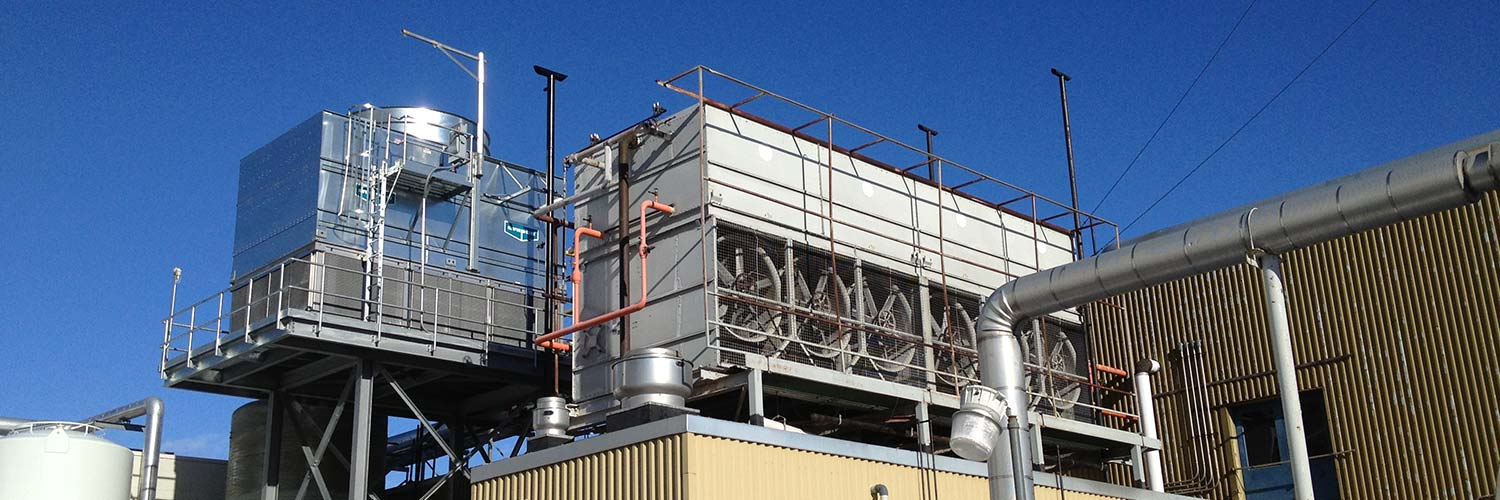 Industrial refrigeration unit on roof