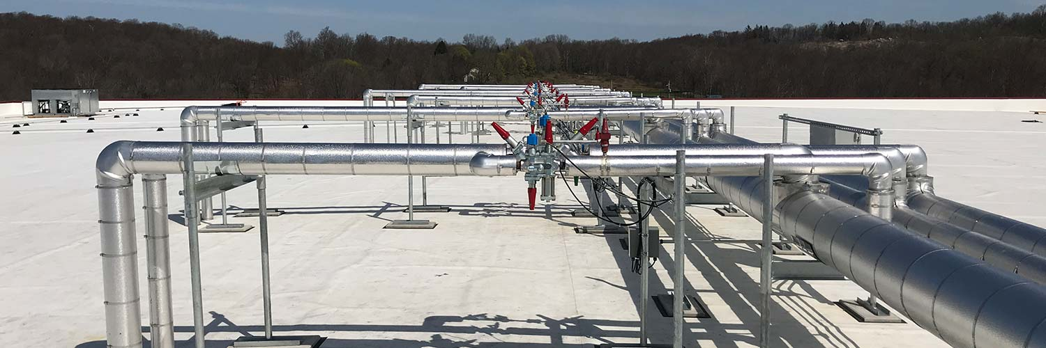 Refrigeration pipes on roof